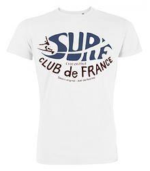 T-Shirt Blanc du Surf Club de France créé en 1964 par Joël de Rosnay