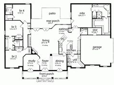 French country home plan - 2639 sq ft with 4 bedrooms and AWESOME master bedroom closet.