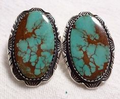 Classic-Vintage-NAVAJO-Sterling-Silver-TURQUOISE-Pierced-EARRINGS-Oval-Cabs
