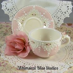 Whimsical Bliss Studios - Sweet Pink and White Lace Cup & Saucer