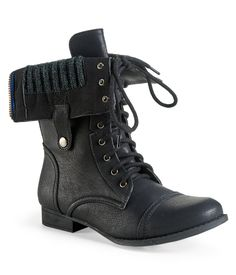 Sweater-Lined Foldover Combat Boot from Aeropostale