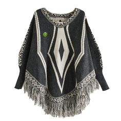 Women Poncho Cape Pullover Sweater Loose Fit Tassel Dark Gray