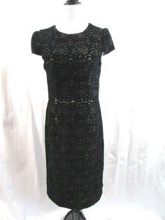 Betsey Johnson Black Flocked Lace Sheath Dress Cocktail Size 8 Excellent…