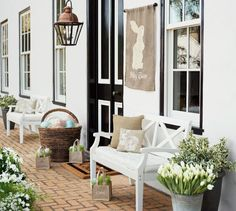 Easter/ spring front porch décor | I'm not sure of original source