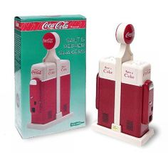 "Coke Vending Machine Salt & Pepper Shakers by Coca Cola. $16.00. Coke Salt & Pepper Shakers Attactive classic Coca-Cola vending machine design shakers. Each shaker is constucted from sturdy aluminum and is 4 7/8"" x 1 3/8"" each. Shakers fit into Coca-Cola plastic base for convenient storage 3 3/8"" wide x 7 1/2"" tall. Fun to use and enhances any decor. Order yours today will they are in stock."
