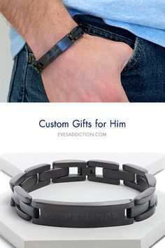 Find custom gifts for him ideas and save 30% with free shipping at EvesAddiction.com. From custom men's bracelets to engravable rings and wedding bands, Eve's Addiction offers many great gift ideas for men. Customize online and it ships in 24 hours! Shop great and affordable Men's Gift ideas for Christmas, birthdays and Father's Day. #giftforhim
