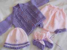 New born baby set in lilac and peach.