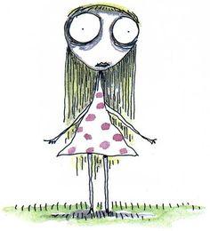 character design ideas, very simple tim burton, staring girl Tim Burton Stil, Tim Burton Kunst, Film Tim Burton, Tim Burton Characters, Tim Burton Drawings Style, Tim Burton Artwork, Tim Burton Sketches, Sad Drawings, Dark Art Drawings