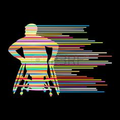 Man In Wheelchair Disabled People Concept Made Of Stripes Vector ...