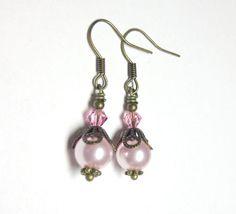 Jewelry Earrings Rose Pink Earrings Swarovski by SpiritCatDesigns, $4.00