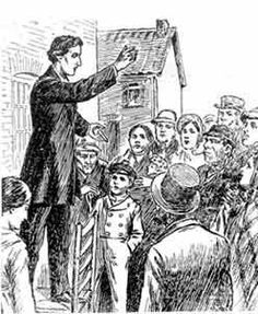 """William Booth, the founder of the Salvation Army preaching the Gospel in the """"open-air.""""    """"You cannot improve the future without disturbing the present."""" ~ William Booth"""