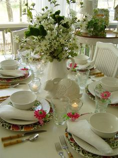 spring table settings | Spring Easter Table Setting Tablescape