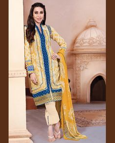 Cream and Yellow shaded pant style front slit suit   1. Cream and Yellow lawn cotton suit2. Comes with matching bottom and dupatta3. Can be stitched upto bust size 42 inches