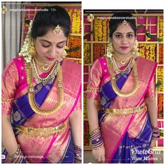 South Indian Wedding Saree, Indian Bridal Wear, South Indian Bride, Saree Wedding, Indian Wear, Kanjivaram Sarees Silk, Kanchipuram Saree, Lehenga Choli, Pattu Saree Blouse Designs