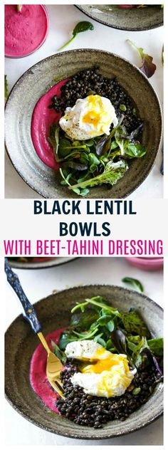 Black lentil bowls with crisp greens, a poached egg, and a heavenly beet-tahini dressing to tie it all together.