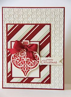 red white ornament card