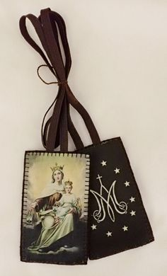 Our Lady of Mt. Carmel Art Scapular, brown scapular, wool brown scapular, scapular of our lady of mt. Catholic Prayers, Catholic Gifts, Birthday Wishes For A Friend Messages, St Faustina Kowalska, Lady Of Mount Carmel, Remembering Mom, I Love The Lord, Holy Mary, God Prayer