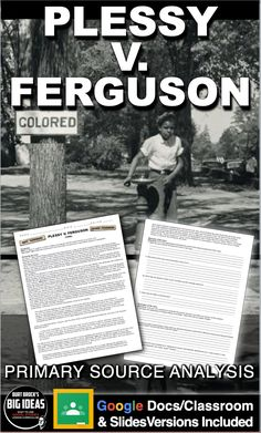 Plessy v. Ferguson Primary Source Worksheet teaches students about one of the worst Supreme Court decisions in history, forcing African Americans to live with Jim Crow laws for the following 50 years. Students are guided through the case while examining excerpts of the Supreme Court decision. This can be used in class or as homework as it's a completely stand alone assignment. This is also perfect for substitute teacher plans. And a key is included.  #HistoryLessonPlans #socialstudies Teaching American History, American History Lessons, Teaching History, Social Studies Notebook, Teaching Social Studies, History Lesson Plans, Jim Crow, Substitute Teacher, Amigurumi