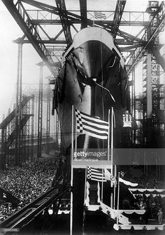 Launching of the 'Europa' liner. Hambourg (Germany), March 1929.