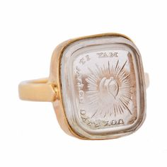 Victorian 14kt Tassie 'May It Watch Over You' Signet Ring