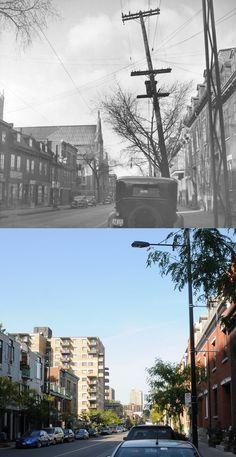 https://flic.kr/p/atGuBc | 1937-2011 | Une vue de la rue Amherst près de Maisonneuve.  On aperçoit au loin l'église Sainte-Catherine-d'Alexandrie qui fut démolie en 1973.  Source : Archives de la Ville de Montréal, VM98-Y4-P030-2