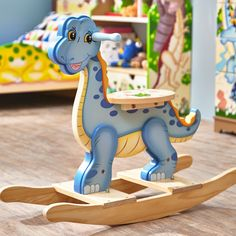 Shop for Teamson Fantasy Fields Dinosaur Kingdom Rocking Horse. Get free delivery On EVERYTHING* Overstock - Your Online Toys & Hobbies Shop! Woodworking For Kids, Woodworking Toys, Woodworking Projects, Woodworking Magazine, Kids Rocking Horse, Wooden Rocker, Kids Bookcase, Baby Dinosaurs, Ride On Toys