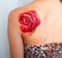 Rose Watercolor Tattoo - Victoroctaviano