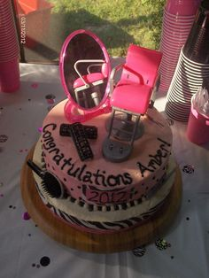 Graduation/Cosmotology Cake for my niece.