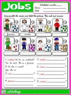 JOBS WORKSHEET 4 (AVAILABLE IN B&W)