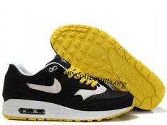 Mens Nike Air Max 1 Black White Solar Flare White Shoes $ 62.99