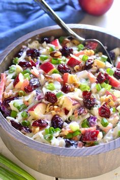 Apple cranberry coleslaw is the perfect way to mix things up for fall! loaded with fresh apples, dried cranberries, chopped walnuts, and green onions, Salad Bar, Soup And Salad, Pea Salad, Apple Coleslaw, Coleslaw Recipes, Coleslaw Salad, Spicy Coleslaw, Coleslaw Dressing, Cooking Recipes