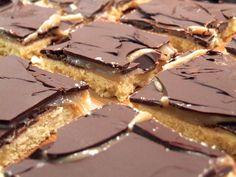 Dairy-free and delicious chocolate caramel shortbread aka millionaire's shortbread aka vegan twix bar slices