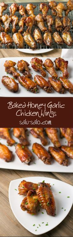 Baked Honey Garlic Chicken Wings - Salu Salo Recipes These baked honey garlic chicken wings are a healthy alternative to fried honey garlic chicken wings. Honey, soy sauce and ketchup are used as marinade. Turkey Recipes, New Recipes, Chicken Recipes, Cooking Recipes, Favorite Recipes, Healthy Recipes, Recipe Chicken, Sauce Recipes, Recipies