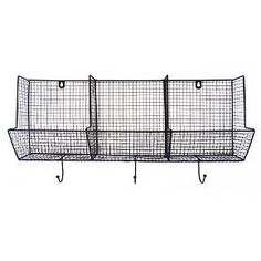 Wire Basket with Hooks 12x24 - 3-Slot : Target