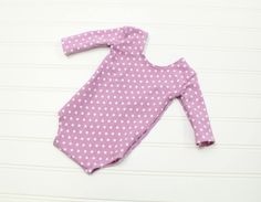 Love and Lilacs - newborn long sleeve romper in a darling lavender lilac polka dot romper (RTS) by SoTweetDesigns on Etsy