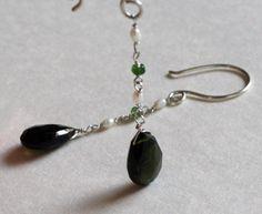 Green tourmaline and freshwater pearl earrings