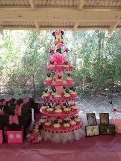 Made this Minnie Mouse cupcake stand, cupcakes & picks for my great nieces 1st birthday! 9/14/13.
