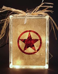 Texas Lone Star on Lighted Glass Block