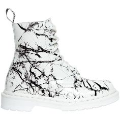 Dr.martens Women 30mm Pascal Marbled Patent Leather Boots ($225) ❤ liked on Polyvore featuring shoes, boots, white, white patent leather boots, short heel boots, small heel boots, rubber sole boots and patent leather shoes