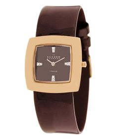 Another great find on #zulily! Brown & Rose Gold Leather-Strap Watch by Skagen #zulilyfinds
