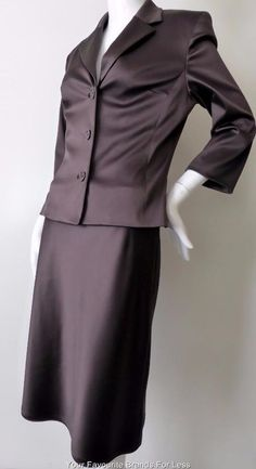 Joi Size 10 US 4 UK10 Brown Satin Skirt and Jacket Suit