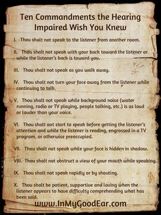 Ten Commandments the Hearing Impaired Wish You Knew (Amen!)