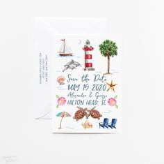 Set the tone for your destination wedding beautifully with miniature works of art! 100% original art by Michelle Mospens. #weddings #weddingideas #weddinginvites #weddinginspiration #weddinginvitations #destinationwedding #beachwedding | Mospens Studio - Unique Save The Dates