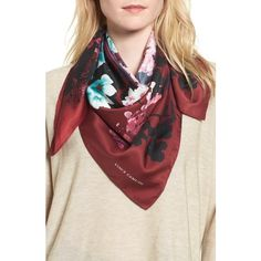 Women's Vince Camuto Midnight Garden Square Scarf (60 ILS) ❤ liked on Polyvore featuring accessories, scarves, potent plum, vince camuto, vince camuto scarves, square shawl, square scarves and satin scarves