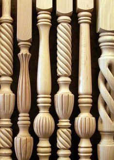 Wood Railings For Stairs, Staircase Railing Design, Wooden Stairs, Chair Design Wooden, Wooden Decor, Balustrade Design, Kitchen Cabinet Door Styles, Furniture Reupholstery, Wood Furniture Legs