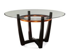 Elation Round Dining Table (Copper & Espresso Finish). The Elation Round Dining Table (Copper & Espresso Finish) has the following features: Manufactured by Bassett Mirror Part of the Elation Collection Made of wood, metal and glass in a copper and espresso finish One of our transitional-styled dining tables