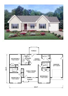 Exclusive COOL House Plan ID: chp-39172 | Total Living Area: 1150 sq. ft., 3 bedrooms and 2 bathrooms.