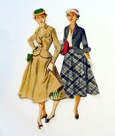 CUSTOM MADE TRAVELING or WALKING VINTAGE SUIT WITH NIPPED WAIST AND FULL CIRCLE SKIRT