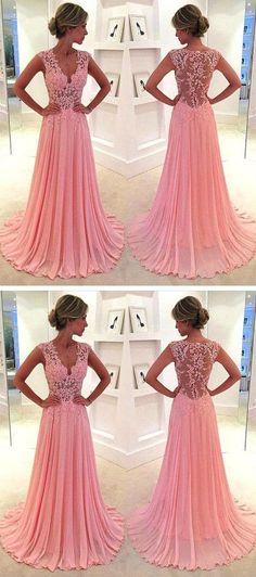 Lace V-neck see-through long chiffon prom dress Blush Pink Vintage Lace Classic Prom Dresses 2016 - Thumbnail 4