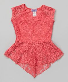 Love this Coral Lace Hi-Low Peplum Top - Girls by Maya Fashion on #zulily! #zulilyfinds